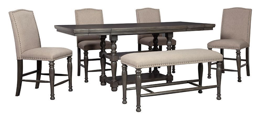 Picture of Audberry Counter Table with Bench and Four Stools