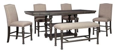 Audberry Counter Table with Bench and Four Stools