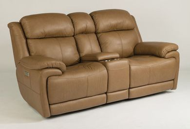 Elijah Brown Power Reclining Console Loveseat