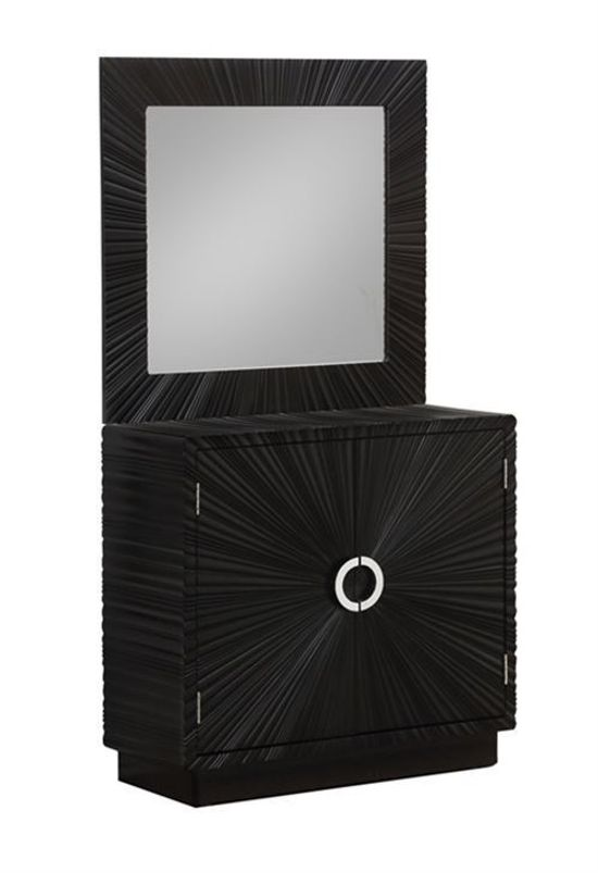 Picture of Black Two Door Cabinet and Mirror