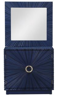 Blue Two Door Cabinet and Mirror