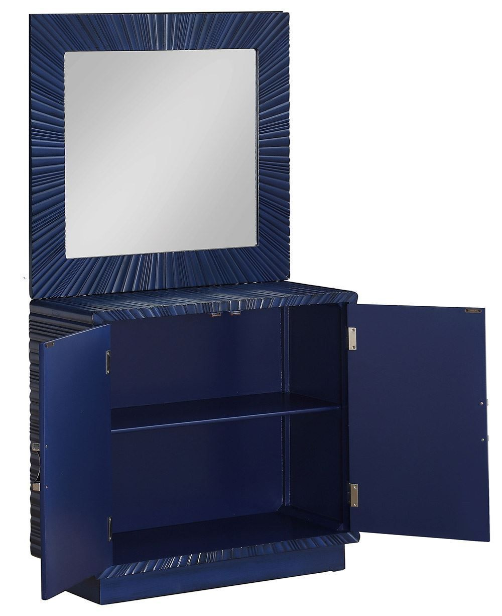 Picture of Blue Two Door Cabinet and Mirror