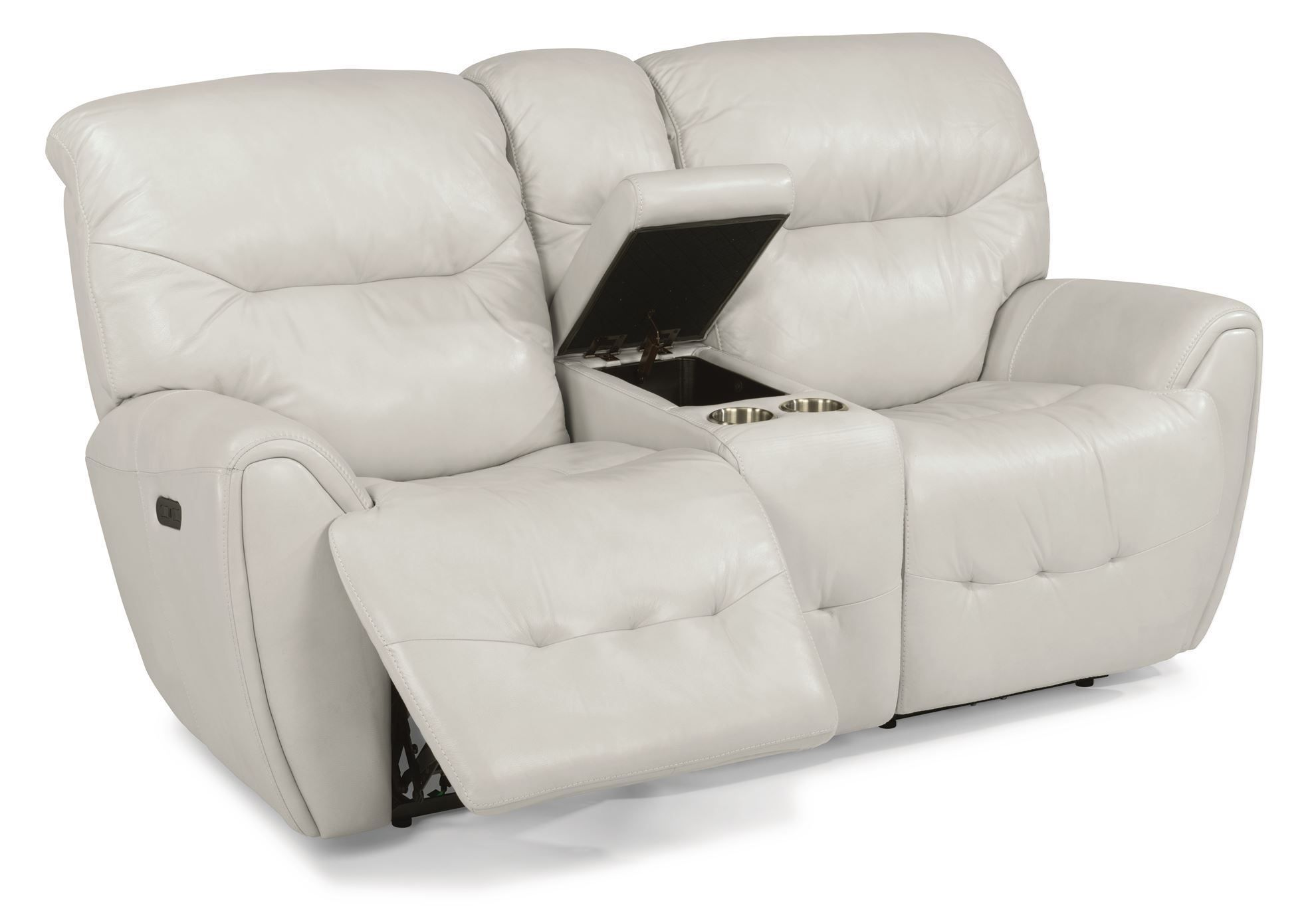 Picture of Blaise White Power Reclining Console Loveseat