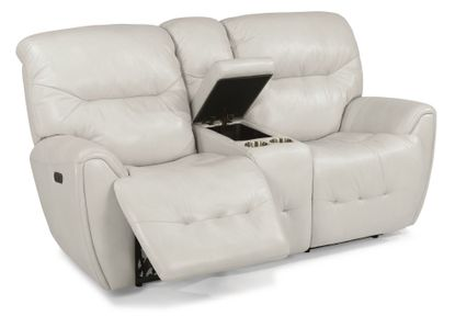 Blaise White Power Reclining Console Loveseat