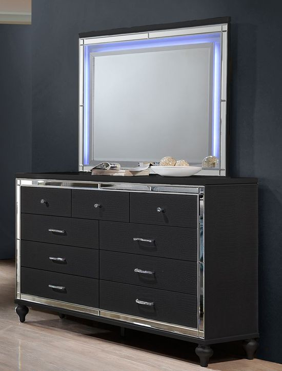 Picture of Valentino II Black Dresser and Mirror