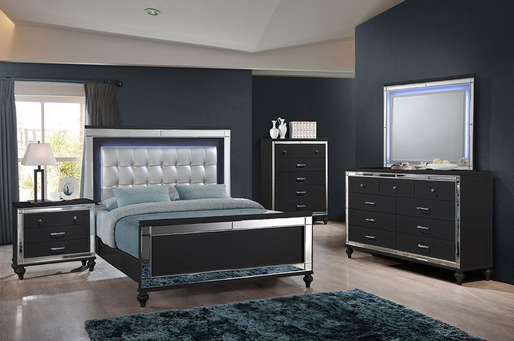 Picture of Valentino II Black Queen Bed Set