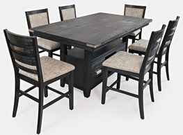 Altamonte Charcoal Convertible Extension Table with Six Stools