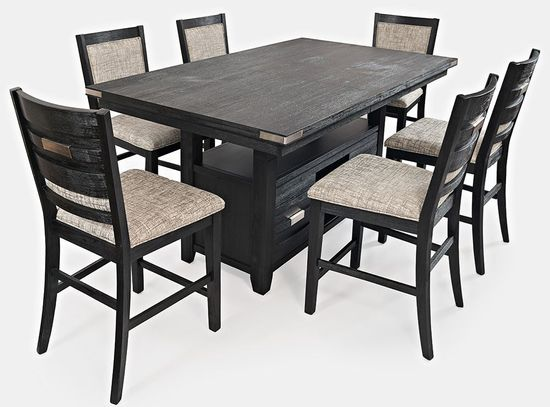 Picture of Altamonte Charcoal Convertible Extension Table with Six Stools