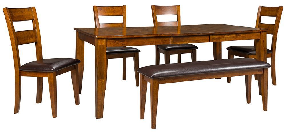 Picture of Light Mango Table with Four Chairs and Bench