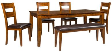 Light Mango Table with Four Chairs and Bench