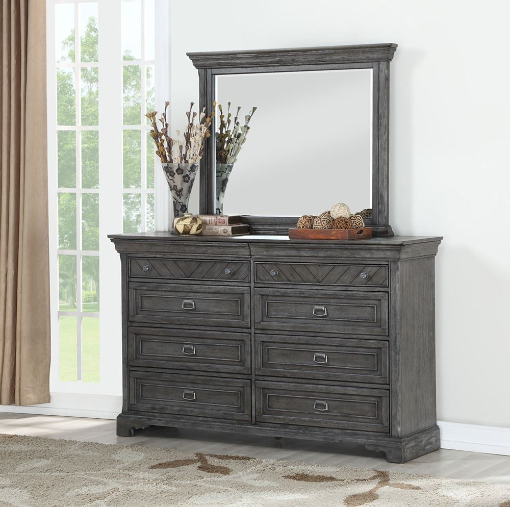 Picture of Gray Dresser and Mirror Set