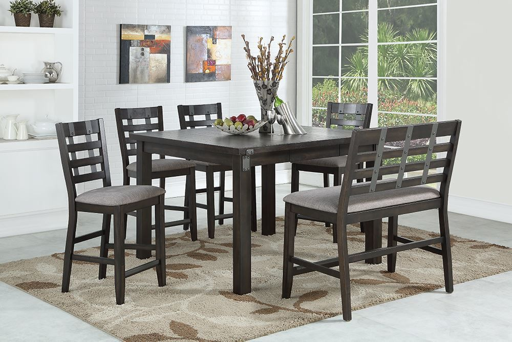 Picture of Astrid Counter Leaf Table with Four Stools and One Bench