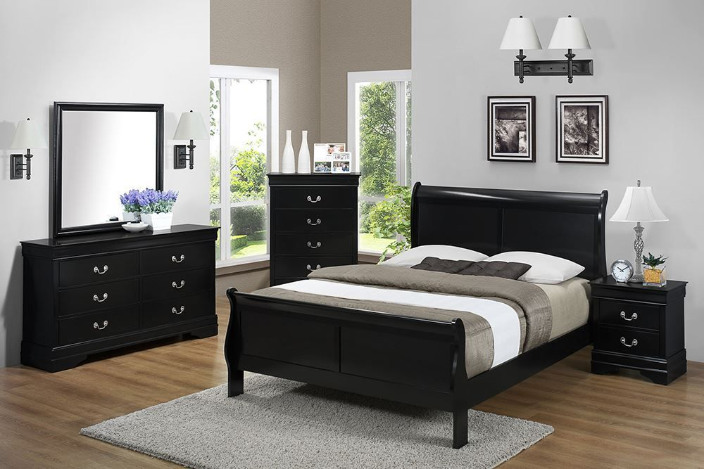 Picture of Louis Black Queen Bed Set