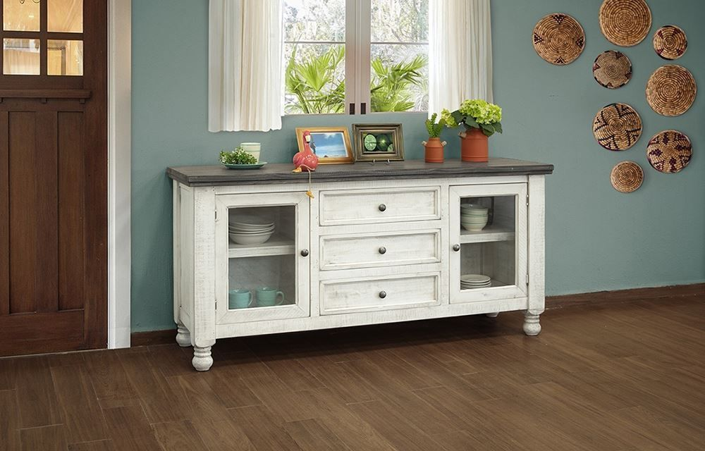 Picture of Stone Buffet with Two Glass Doors and Three Drawers
