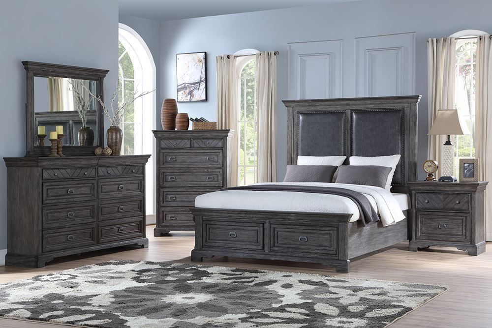 Picture of Gray Queen Storage Bed Set