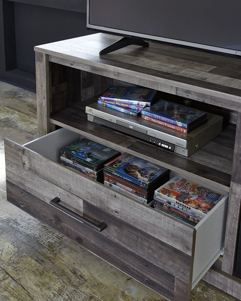 Picture of Derekson TV Stand with Fireplace Insert