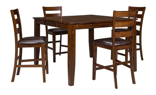 Picture of Kona Mango Counter Table with Four Ladderback Stools