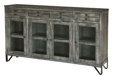 Moro Console with Four Drawers and Four Glass Doors