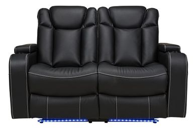 Laney Black Power Reclining Loveseat