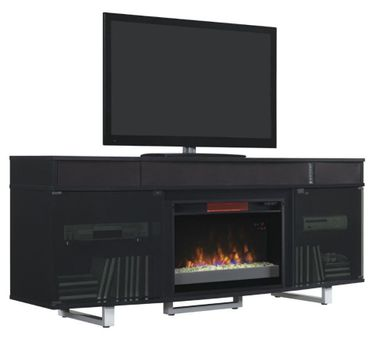 72 Inch Black Enterprise Fireplace TV Stand
