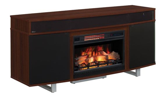 Picture of 64 Inch Enterprise Cherry TV Stand with Fireplace Insert