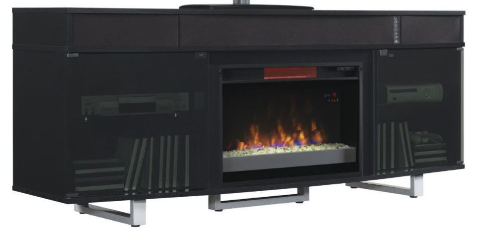 Picture of 64 Inch Enterprise Black TV Stand with Fireplace Insert