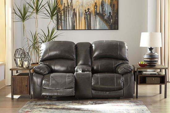 Picture of Hallstrung Charcoal Power Reclining Console Loveseat