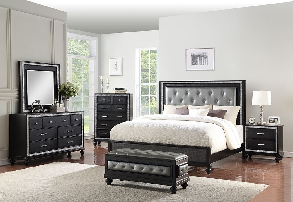 Affordable Luxury Bedroom Sets Picture of Kanti Black Queen Bedroom Set
