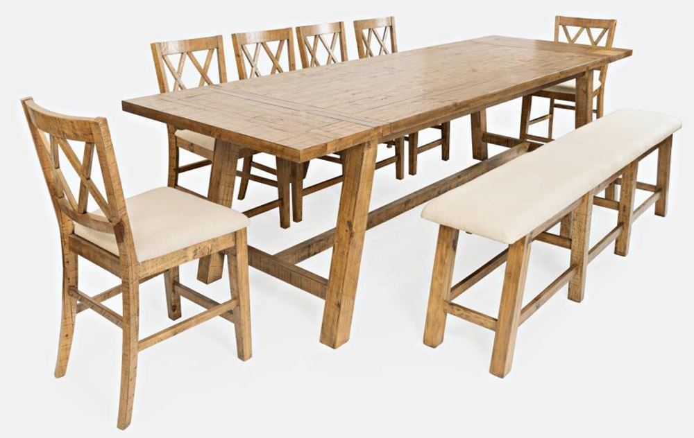 Picture of Telluride Counter Table with Four Stools and One Bench