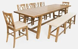 Telluride Counter Table with Four Stools and One Bench