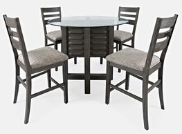 Altamonte Grey Round Counter Table with Four Stools