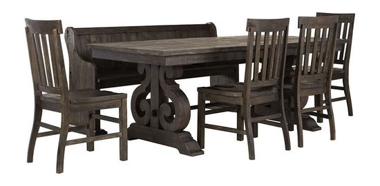 Picture of Bellamy Dining Table with Four Chairs and Bench