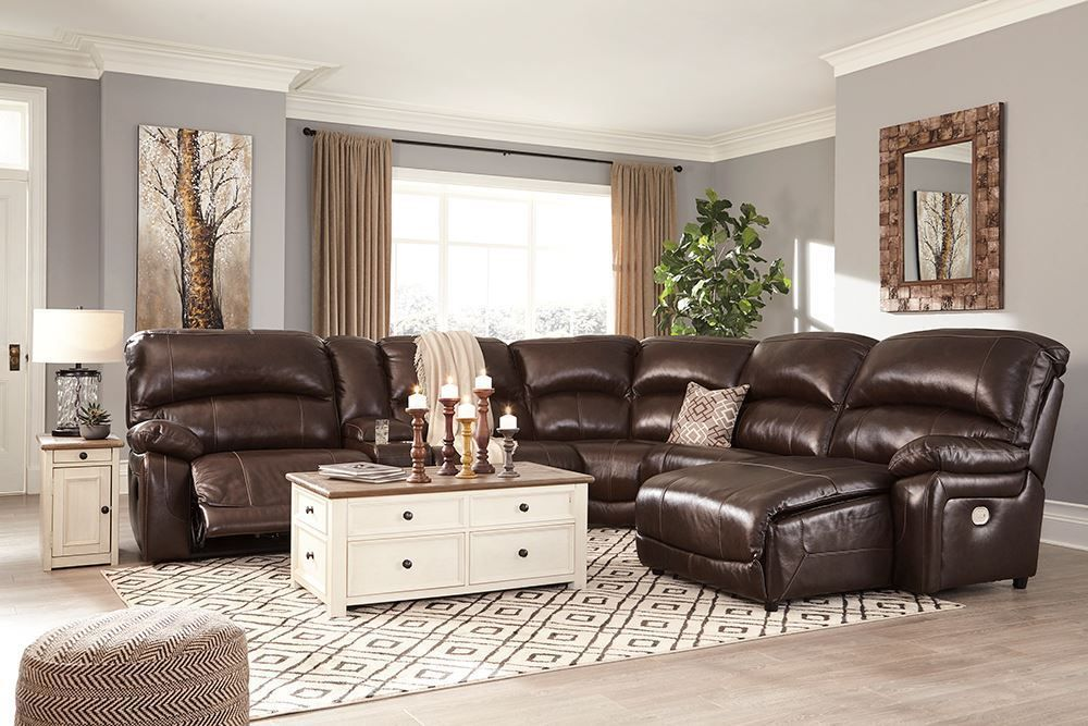 Picture of Hallstrung Chocolate Six Piece Reclining Sectional