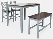 Asbury Grey Counter Table with Two Stools and One Bench