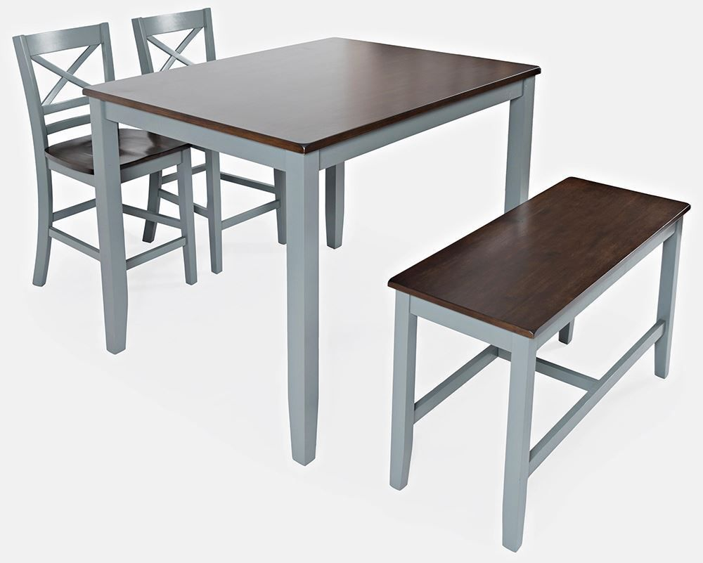 Picture of Asbury Grey Counter Table with Two Stools and One Bench