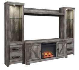 Wynnlow Entertainment Wall with Fireplace Option