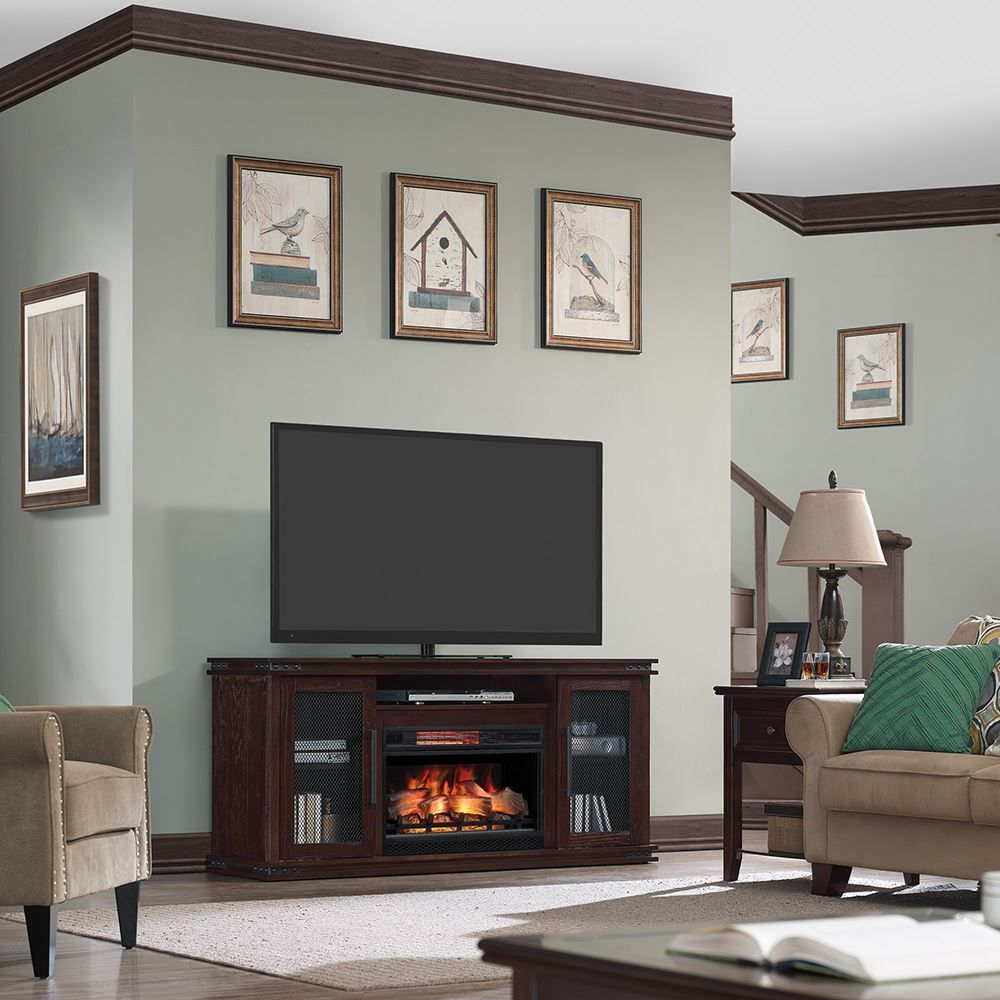 Picture of 63 Inch Edgebrook TV Stand with Fireplace Insert