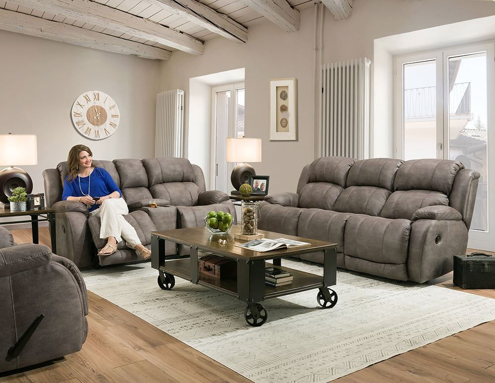 Picture of Denali Grey Reclining Console Loveseat