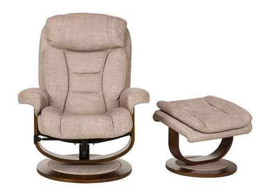Olivia Pearl Swivel Recliner with Ottoman