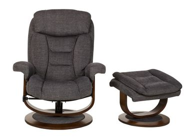 Odie Denim Swivel Recliner with Ottoman