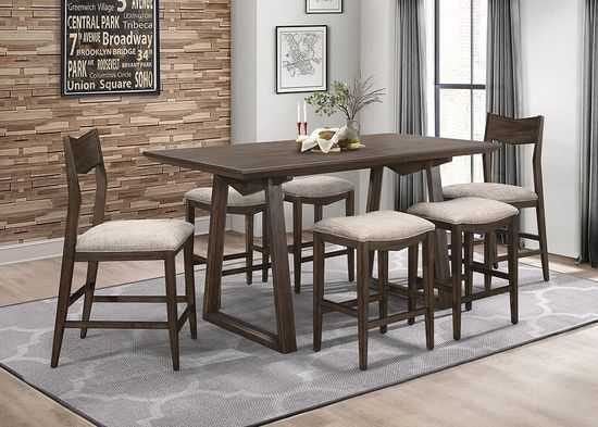 Picture of Leo Counter Table with Four Backless Stools and Two Backed Stools