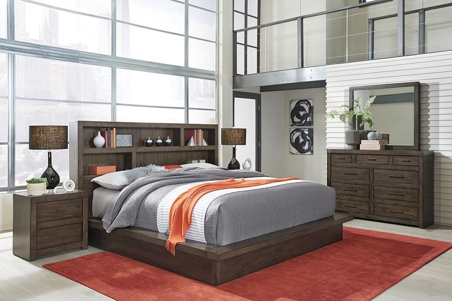 Modern Loft Brown Queen Platform Bedroom Set The Furniture Mart
