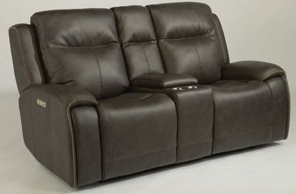 Solo Black Power Reclining Console Loveseat