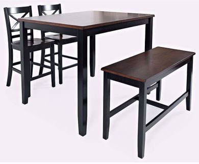 Asbury Park Black Counter Table with Two Stools and One Bench