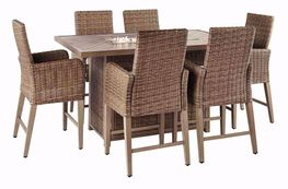 Beachcroft Bar Firepit Table with Six Stools