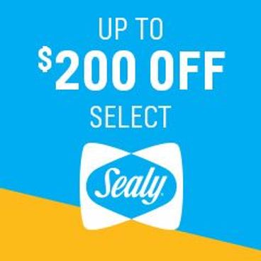 Up to $200 off select Sealy Mattresses