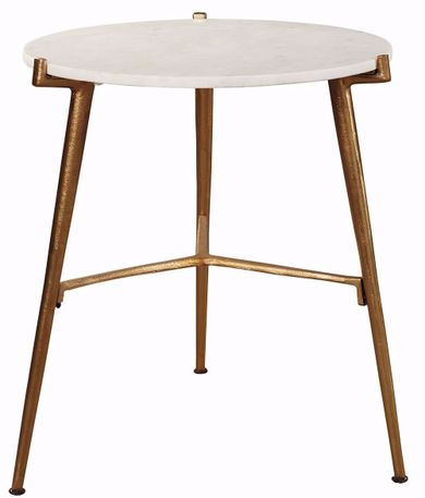 Chadton White and Gold Accent Table