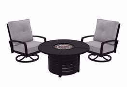 Castle Island Firepit with Two Chairs