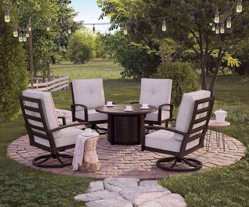 Picture of Castle Island Firepit with Two Chairs