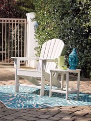 Sundown Treasure White Adirondack Chair with End Table